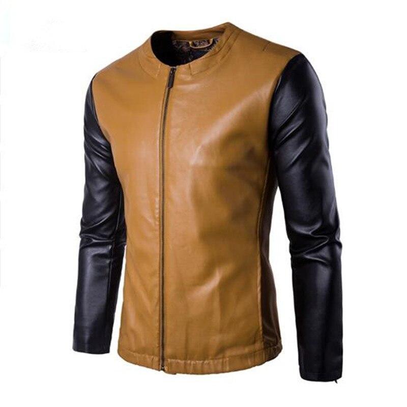 2018 New Arrivals Zipper PU Leather Jacket Men Leather Jackets Overcoat Plus Size M-5XL 3 Color