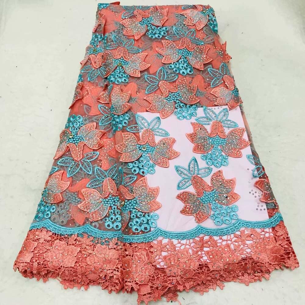 Livraison gratuite (5 yards/pc) haute qualité perlée Africain Français net dentelle tissu dans la Pêche et vert pour la partie robe