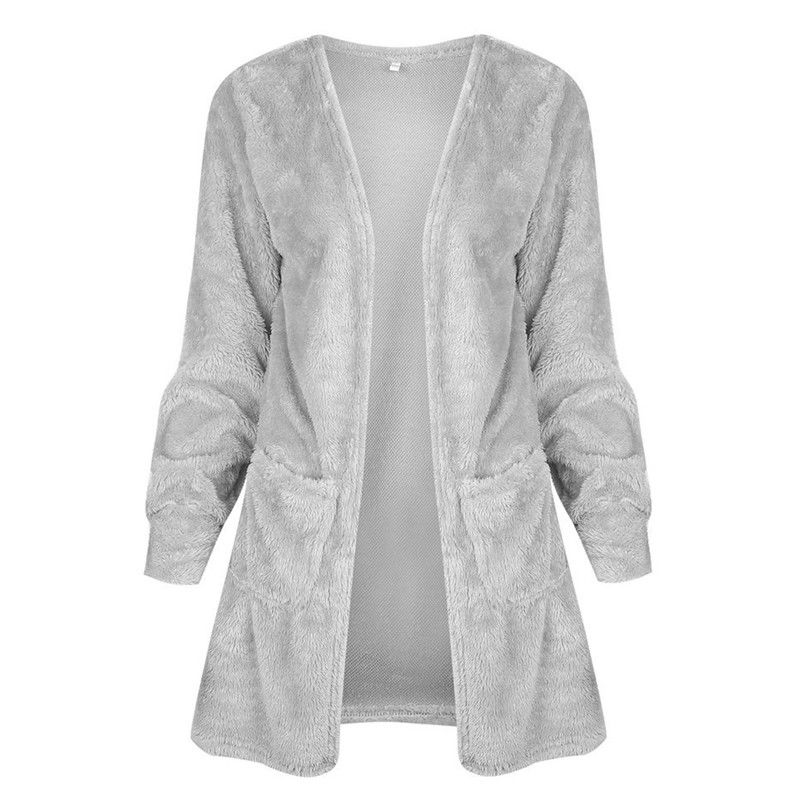 Women Solid Long Sleeve With Pocket Plush Open Front Slim Sweater Coat Cardigan Jackets