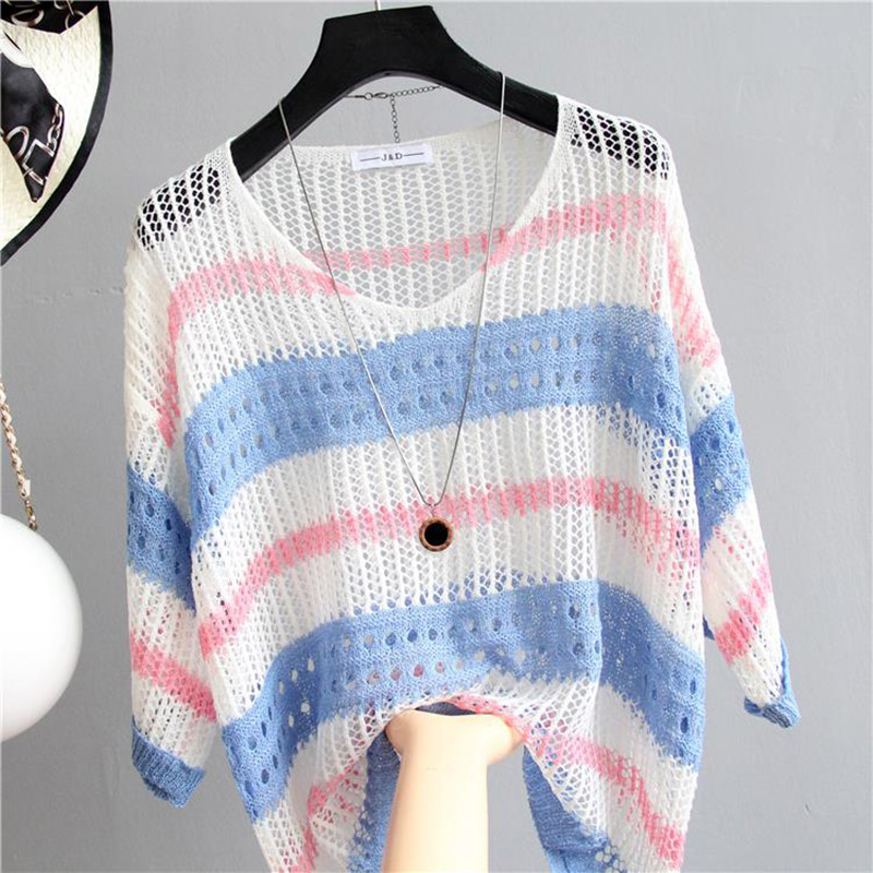 Sexy Women Pullover Stripe Mesh Hollow Sweater Female 2018 Autumn Fashion Slim Tops Half Sleeve Knitted Shirt Casual Clothing in Pullovers from Women 39 s Clothing