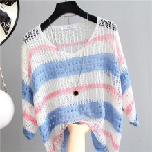 Stripe Mesh Hollow Knitted Shirt