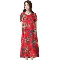 New Summer Fashion Floral Print Cotton And Linen Retro Dress 2019 Women Vintage Midi Dresses Female Casual Dress Vestidos D112