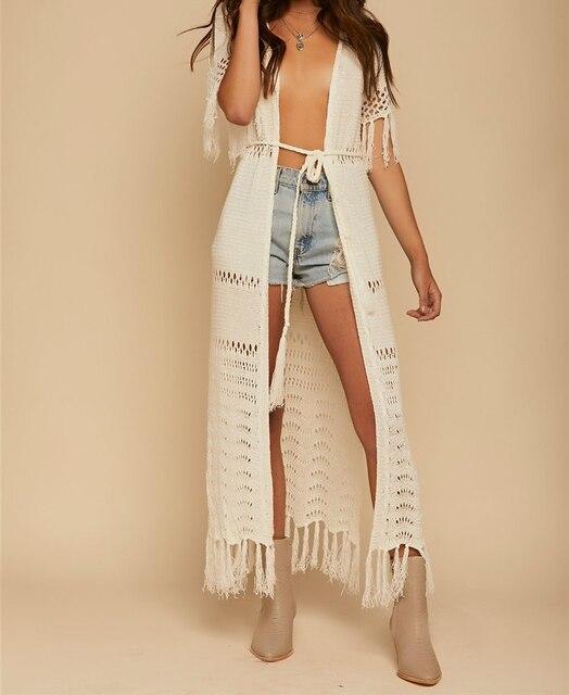 387ddd1dac Ürün Açıklaması. Örgü Uzun Plaj Cover up Kaftan Tunikler Mayo cover Robe  Plage Püskül Kadınlar ...