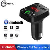Car Bluetooth FM Transmitter Aux Modulator Bluetooth Handsfree Car Kit Car Audio MP3 Player with 2.1A Quick Charge Dual USB