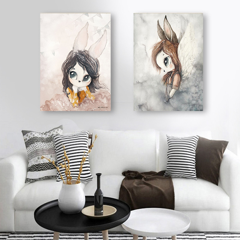 Home Decor Nordic Canvas Painting Wall Art Rabbit Girl Animal Abstract Watercolor Print Kid Bedroom Living Room Poster Picture #4