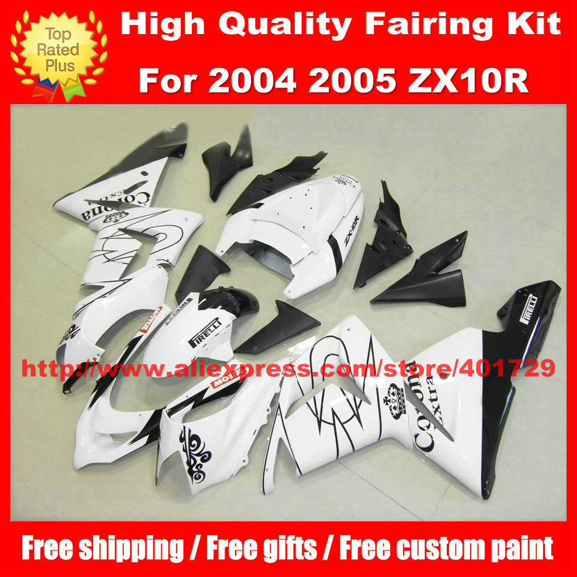 Fairings body kit for Kawasaki ZX10R 04 05  ZX 10R 2004 2005 CORONA free custom paint white fairing set