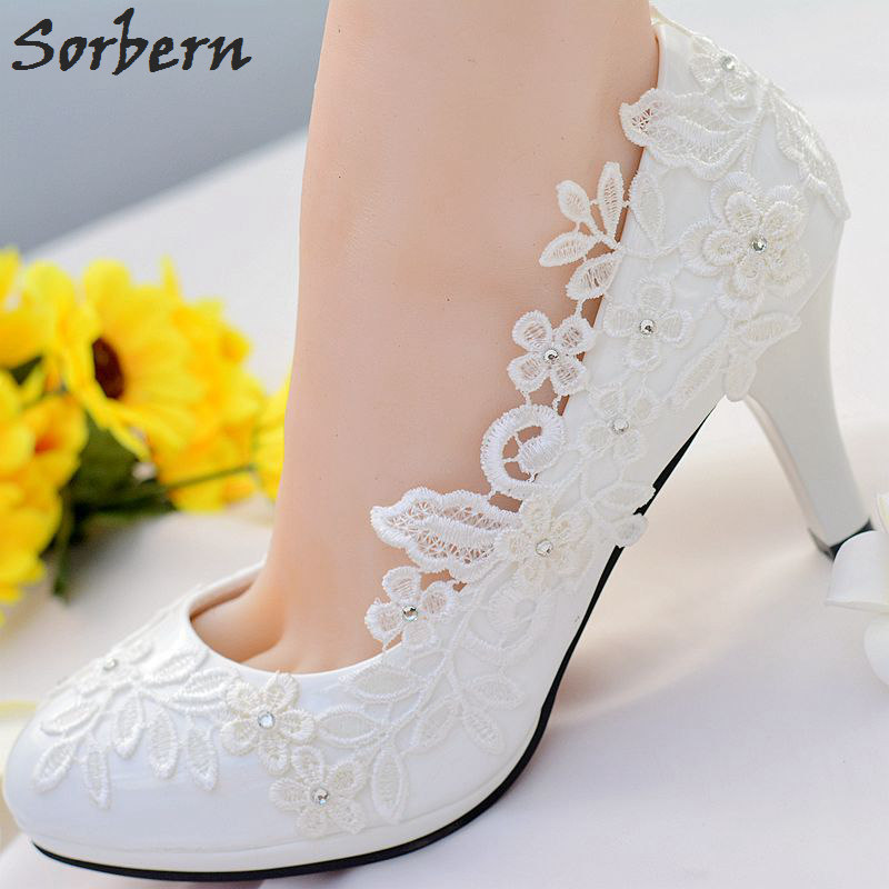 Sorbern White Lace Flower Wedding Shoes Slip On Round Toe Bridal Shoes High Heel Women Pumps Shallow Round Toe 4.5Cm/8Cm women wedding silver shoes crystal sequins decor pumps lace slip on bridal super high heel round toe sexy ladies party shoes