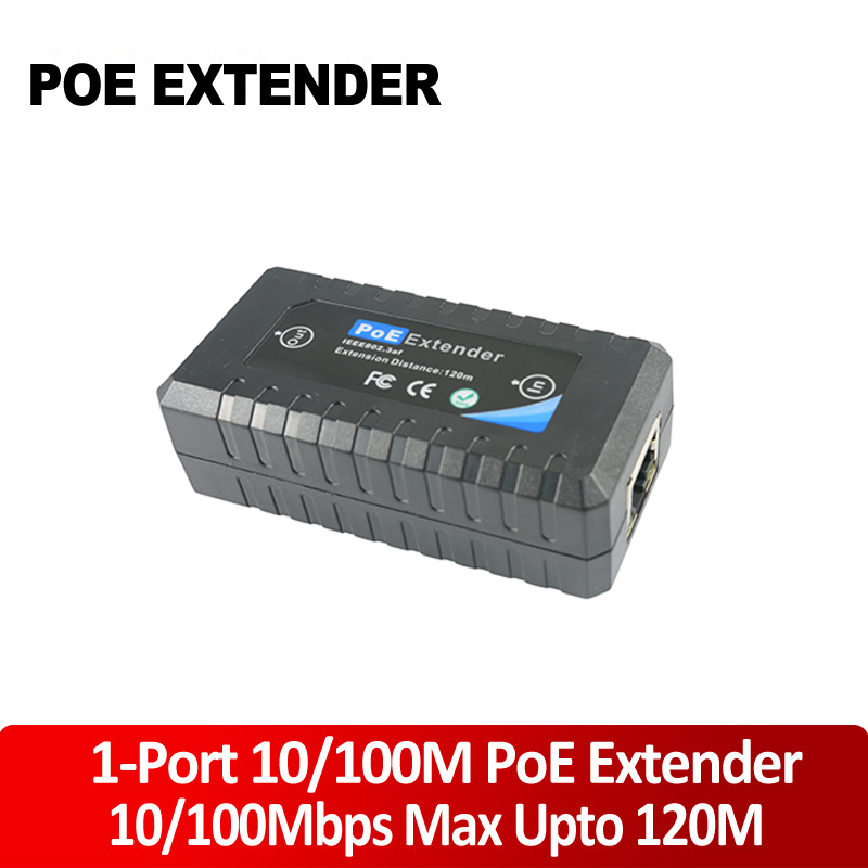 1 Port 10/100M PoE Extender IEEE802.3af For Ethernet Security Systems IP Camera