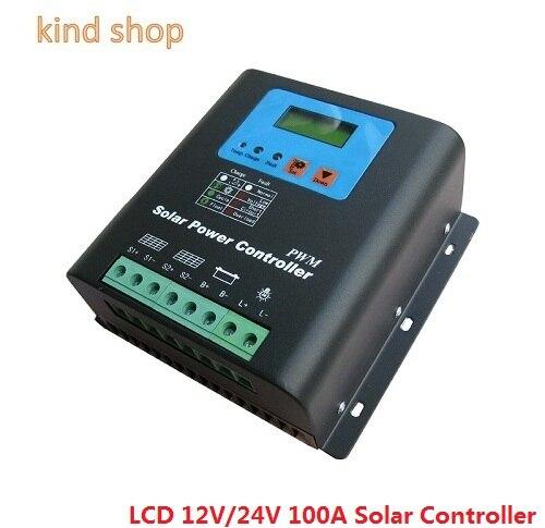 12V 24V auto work 100A Solar Controller,Off-grid PV power controller for solar system 100w 12v solar panel module 20a cmg controller 1000w off grid for car traile solar generators