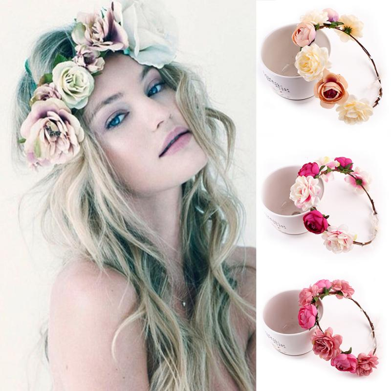 Flower Hair Pieces For Wedding: Bohemia Handmade Floral Headband Women Flower Crown