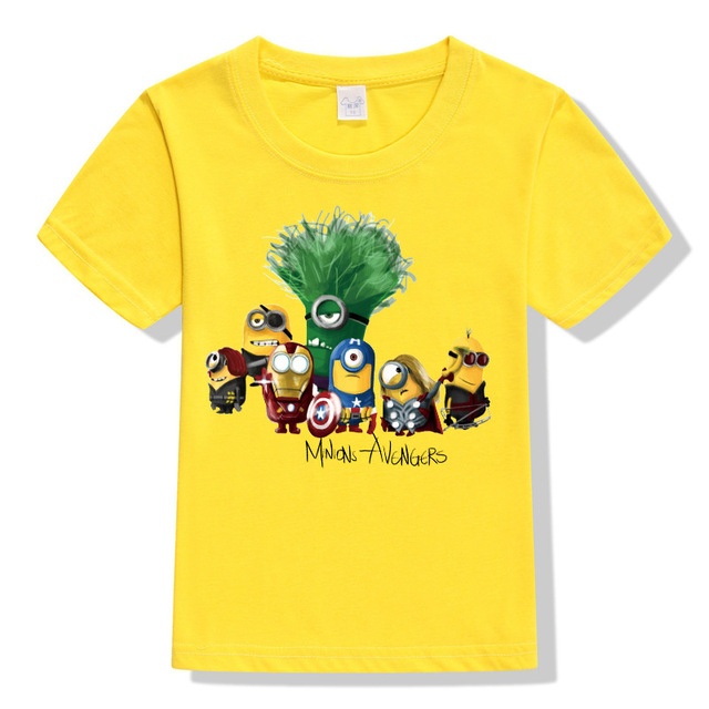2017 New  Cartoon 2-10 Years Old Despicable Me Minions Children Boy Girl's T-shirts Minion Summer Baby Kids Shorts Kids T-shirts