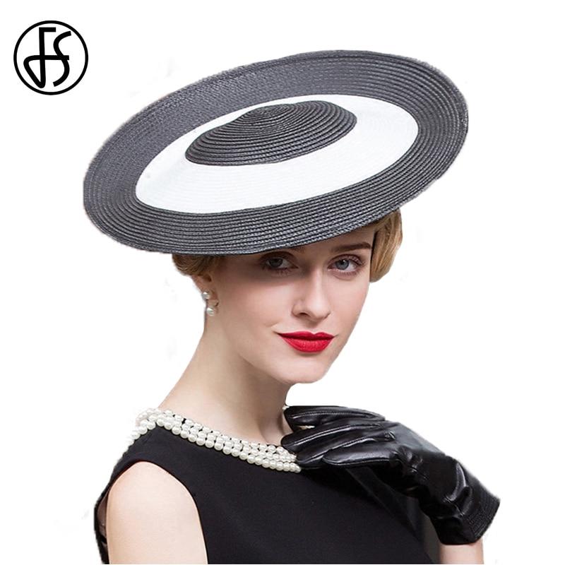 FS Fascinator Summer Black White Vintage Pillbox Hat Wide Brim Ladies  British Wedding Derby Hats For Women Fedora Hat Party Caps 60ab4ad07df