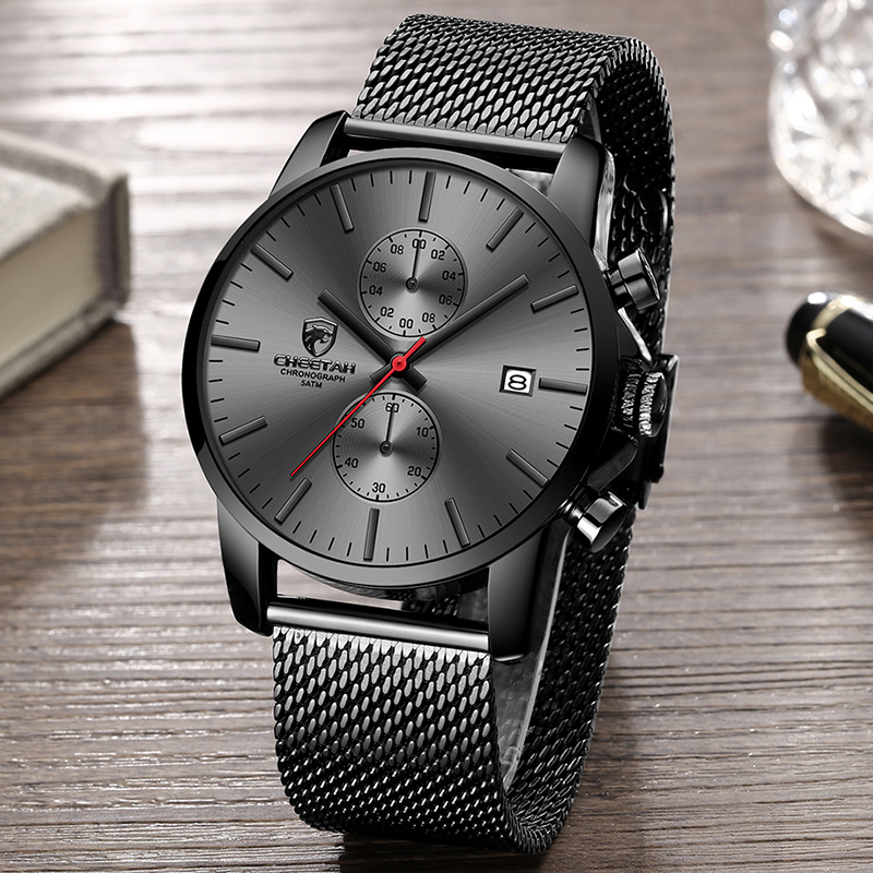 Image 4 - CHEETAH Brand Men Watch Fashion Business Quartz Wrist Watches Stainless Steel Mesh Chronograph Male Clock Date Relogio Masculino-in Quartz Watches from Watches