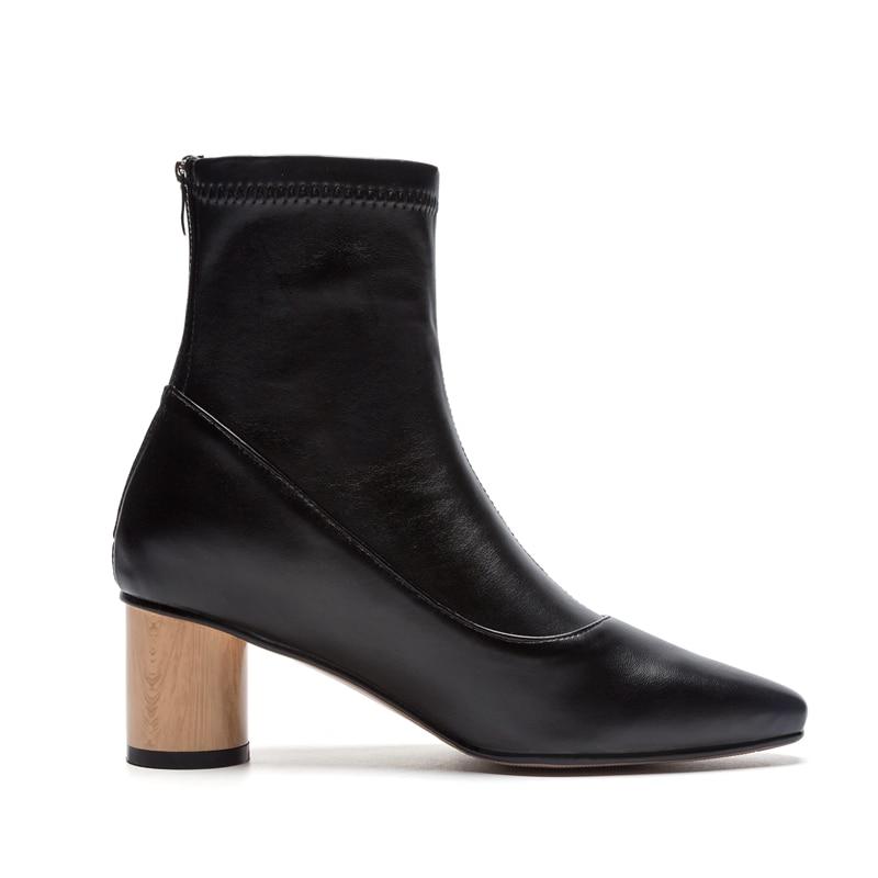 Mujer Zapatos Mujeres De Genuino Cuero Enmayla La Black Size34 Tobillo 43 Punta Redonda Botas black Zyl1608 a Básica Para 840qBw