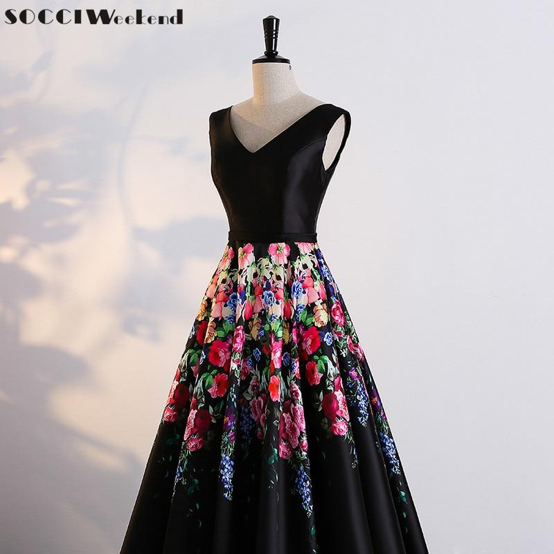 SOCCI nedēļas nogales ilga vakara kleita 2017 ziedu drukas modelis - Kleitas īpašiem gadījumiem