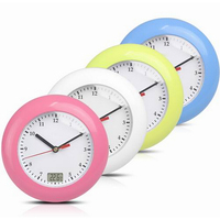 modern circular waterproof digital wall clock needle Lcd display with 4 support suckers thermometer for bathroom can be hanged