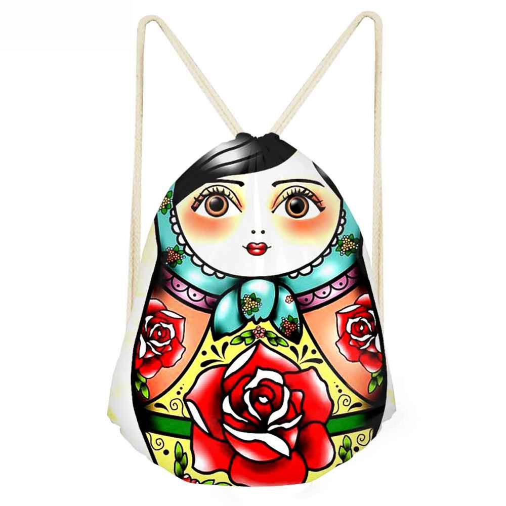 Matryoshka Doll Backpack Drawstring Bag Beach Backpack Mochila Cuerda Infantil Shoe Bag Lady Gorijuss Petite Fille Russian Doll