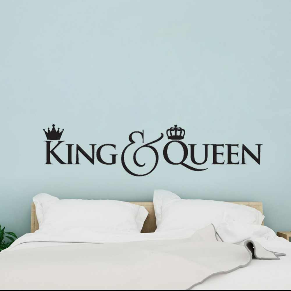 Headboard diy vinyl wall decals king and queen crown wall decor sticker home decoration bedroom art