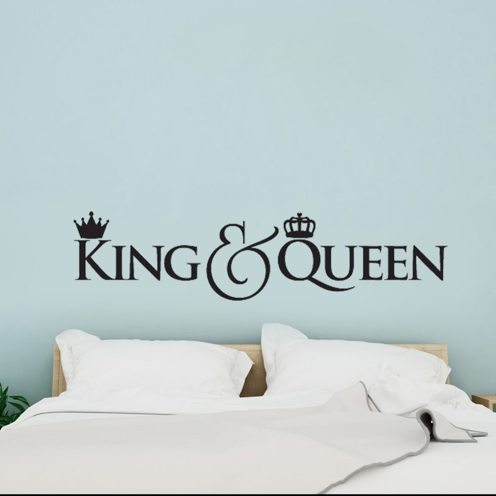 US $4.85 27% OFF|Headboard DIY Vinyl Wall Decals King and Queen Crown Wall  Decor Sticker Home Decoration Bedroom Art Decal Gift for Couple D533-in ...