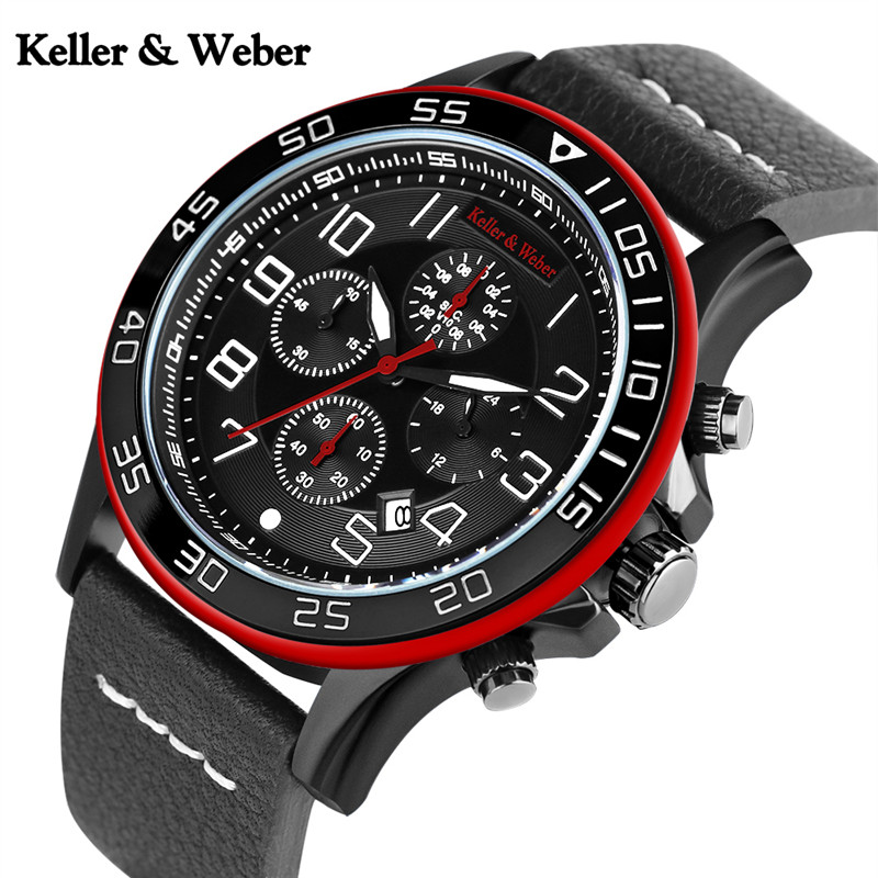 Keller & Weber KW Watch Men Quartz Date Army Military Pilot Genuine Leather Wristwatches Calender Business Clock Waterproof 2017 рубашка gerry weber gerry weber ge002ewwra96