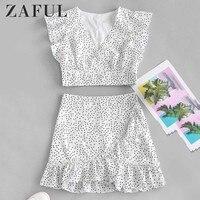 ZAFUL Polka Dot Crop Blouse Mini Skirt Set Short Sleeves Zipper Fly High Waist Women Two Pieces Set Trumpet Tops Mermaid Skirt