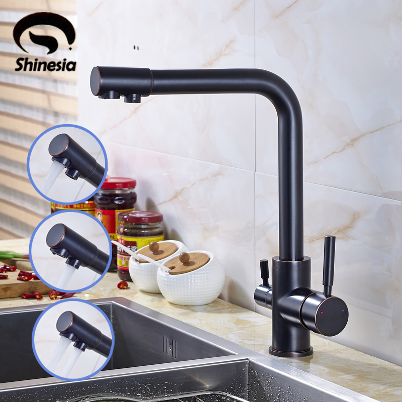 Double Spout Kitchen Sink Purified Faucet Pure Water Mixer Water Taps Two Handles Oil Rubbed Bronze free shipping brand new kitchen sink faucet tap pure water filter mixer double handles double spout chrome kitchen mixer taps