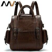 MVA men's backpack genuine leather laptop backpack for men crazy horse leather travel/antitheft backpacks vintage male daypack