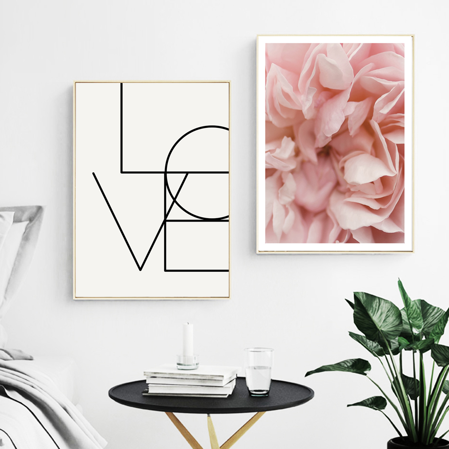 Pink Flower Love Quotes Wall Art Canvas Painting Nordic