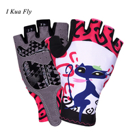 Cute Cat Women Mountain Bicycle Gloves Cycling Gloves Luvas Para Ciclismo mtb Bicycle Half Finger Gloves Gel Bike Accessories z4
