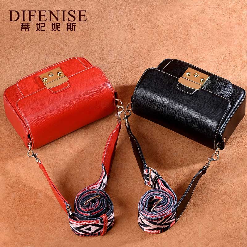 Difenise Fashion Small Bag for Women Messenger Bags for Women Genuine Leather Shoulder Bags Crossbody Black Red Flap Handbag 2017 summer metal ring women s messenger bags solid scrub leather women shoulder bag small flap bag casual girl crossbody bags