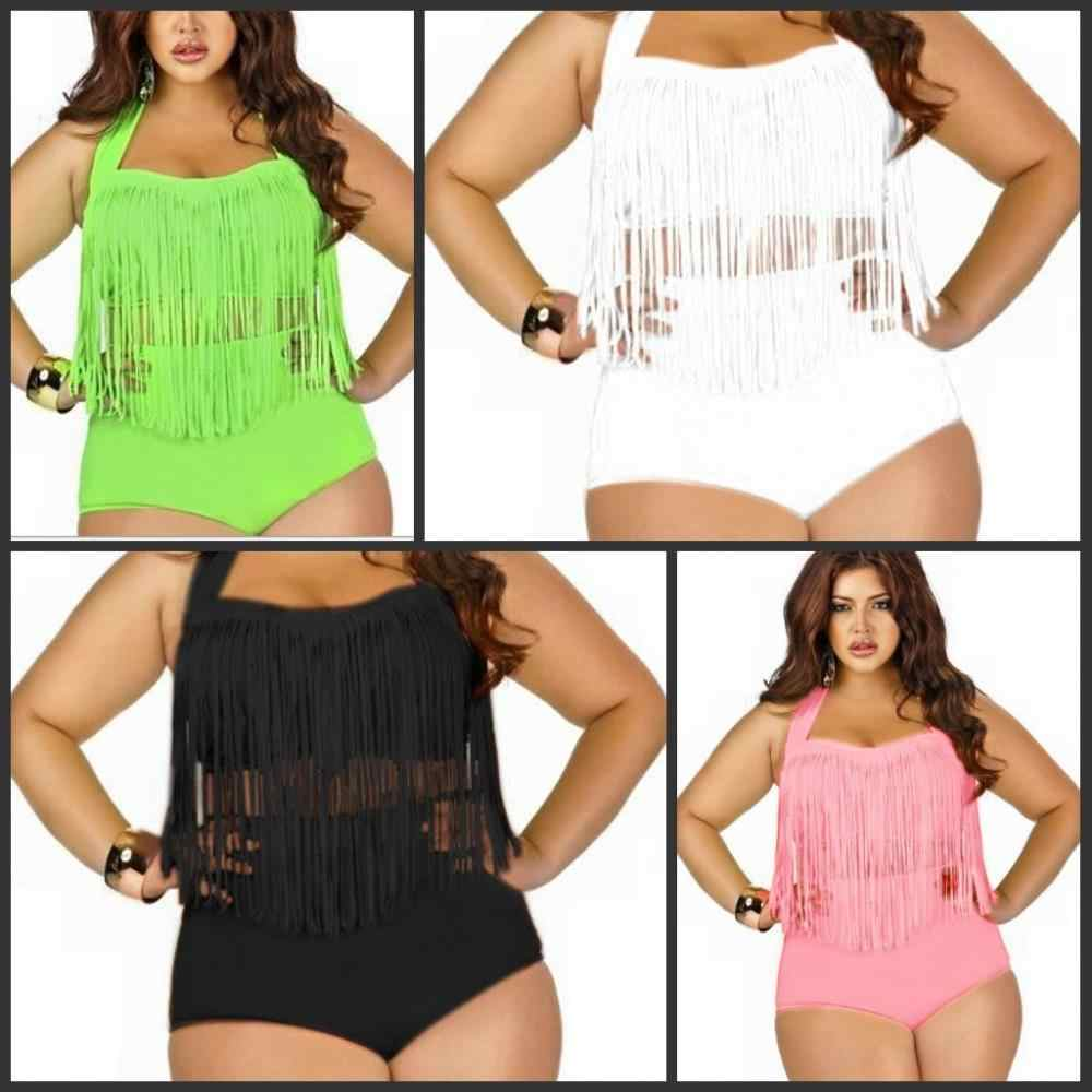 Grote En Mooie Womens Retro Fringe Tassel Top Hoge Taille Bikini Push Up Bandeau Rockabilly Badmode Badpak Xxxl PLUS SIZE