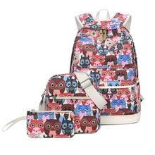 Мода 3 шт./компл. Сова животных печать девушка школьный рюкзак мешок DOS FILLE японский ноутбук холст школьный ранец рюкзаки
