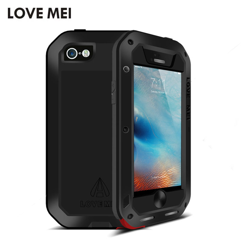 imágenes para Original Amor Mei Prueba de Golpes A Prueba de Polvo Potente Caja De Aluminio Del Metal para el iphone 5 SE 5S Protectora Caso con Gorilla Glass