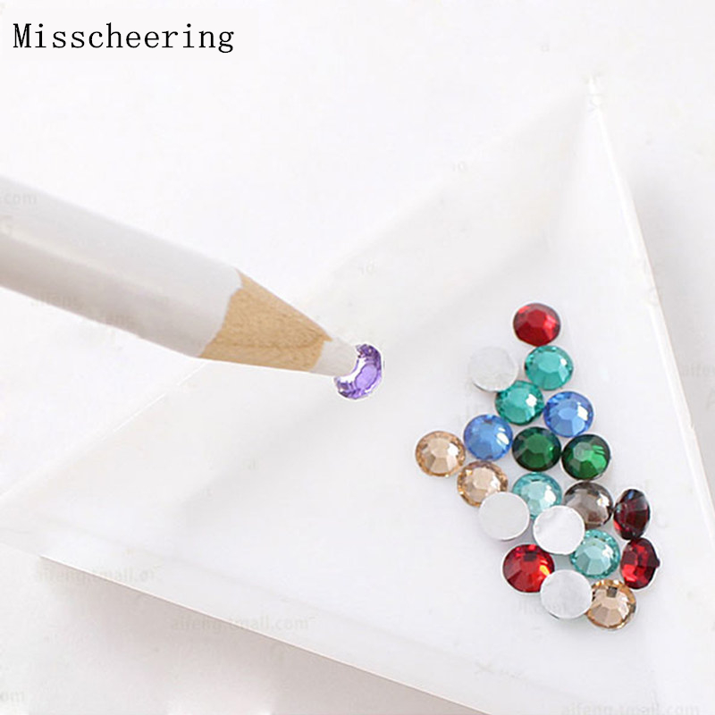 1pcs Wood Handle Nail Art Dotting Pen Adsorb Rhinestones Gems Decorations Stick On Nails Manicure Design Tools glass rhinestones for nails strass nail art nail decorations new arrive manicure rhinestones on nail jewelry mjz0035