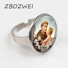ZBOZWEI 2018 St Anthony of Padua Saint Ring St Anthony Jewelry Cabochon Religious Religious Gift Ring saint athanasius select treatises of st athanasius in controversy