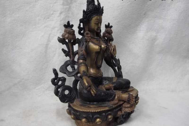 100% фиолетовый Медь бронза Тибет Падма Зеленая Тара Кван-Инь Гуаньинь Богиня Будда