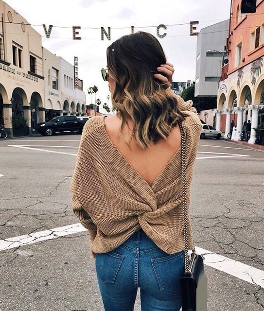 Casual V Neck Twisted Back Sweater 3