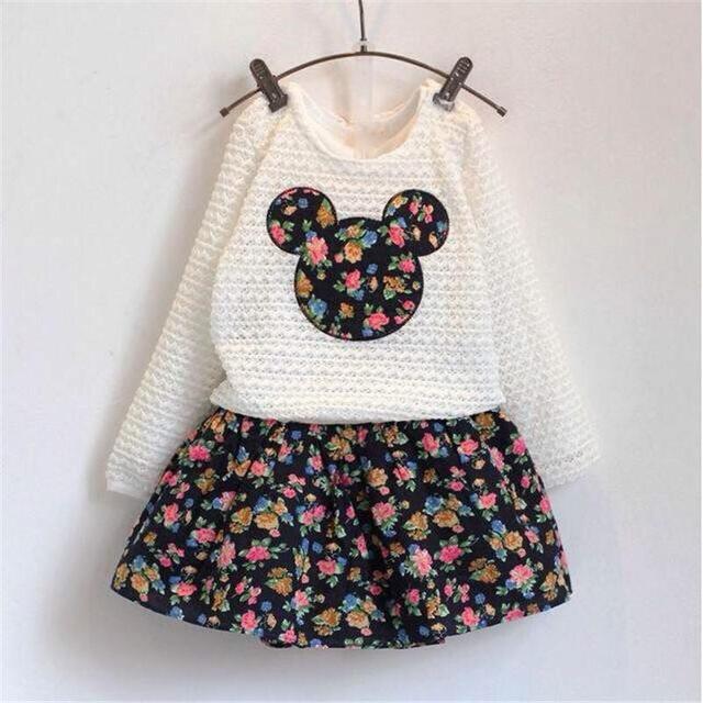 Meninas novas roupas de outono conjuntos de roupas de bebê meninas flower dress + lace minnie tops crianças roupa criança roupa das crianças