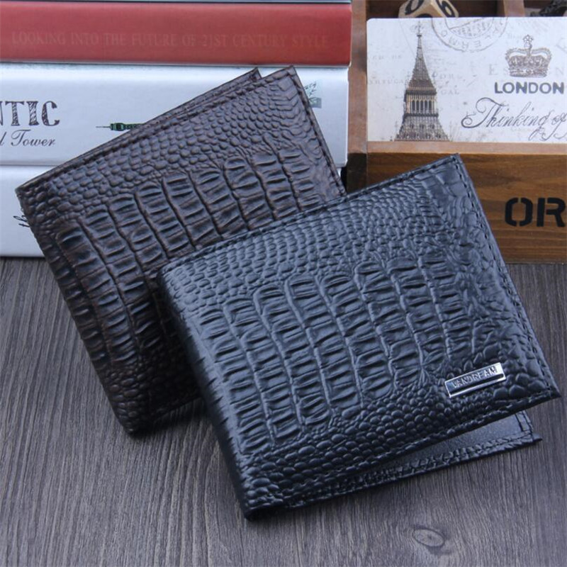 2018 New Crocodile Pattern PU Leather Men Short Wallet Fresh Style Zipper  Purse With Coin Pocket Money Bag Wallets Men 2 Color
