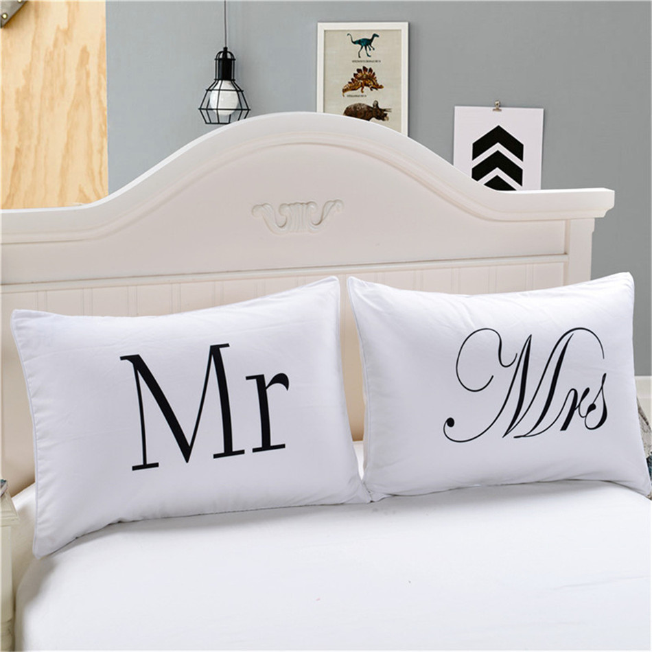 MR MRS Decorative White Couple Pillow Case Pillowcase Cover Home Decoration Gift One Pair Pillows Bedding Set Bedding Outlet  (1)
