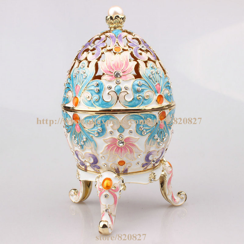 Faberge Egg Trinket Jewelry Box with a Pearl on Top for Sale Estee Egg Treasures Egg