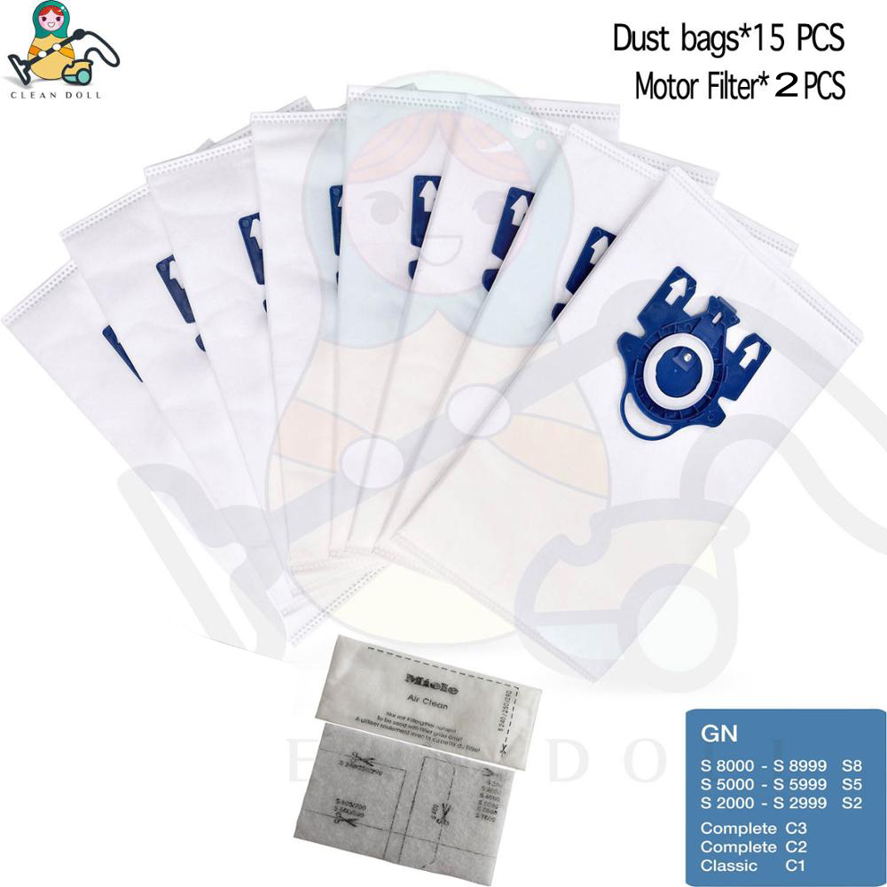 15-PACK dust bags for Miele 3D GN S2000 S5000 S5211, S5212 S5981 Complete C2 C3 Classic C1 S2 S5 S8 Vacuum Cleaner bags