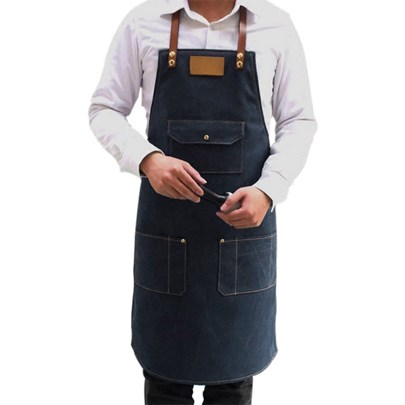 Home Apron Washable Polyester Dual Pockets Women Waterproof Oil Kitchen Pinafore For Waiter Chef Free Cuff35