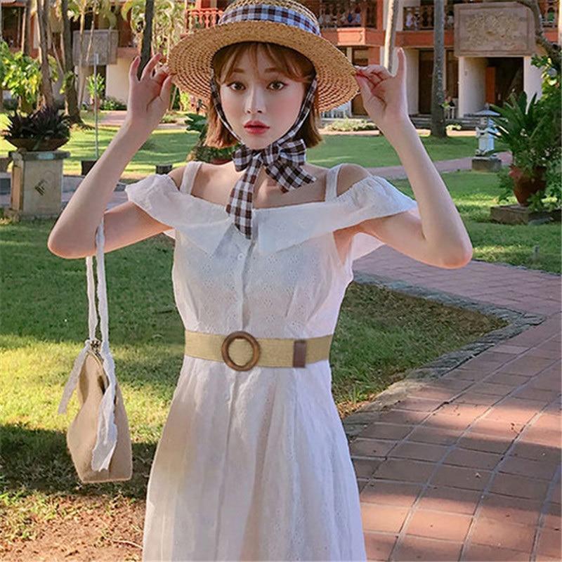 1PC Round Wooden Buckle Dress Belt For Women Casual Female Braided Wide Belt