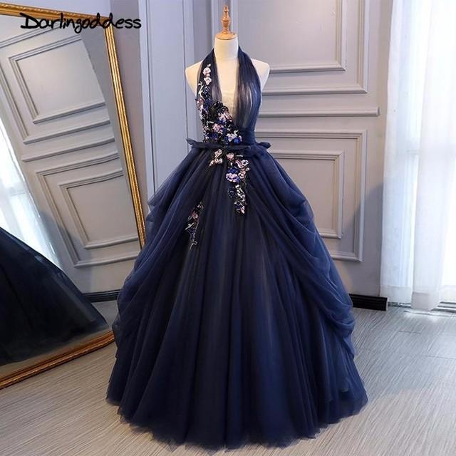 Darlingoddess Vestido de Noiva Luxury Ball Gown Wedding Fresses 2018 Sexy Halter Corset Backless Flower Royal Blue Wedding Gowns