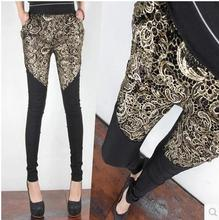 Осень зима ажурные кружева лоскутное узкие брюки шаровары плюс бархат теплые брюки шаровары Вышивка b923