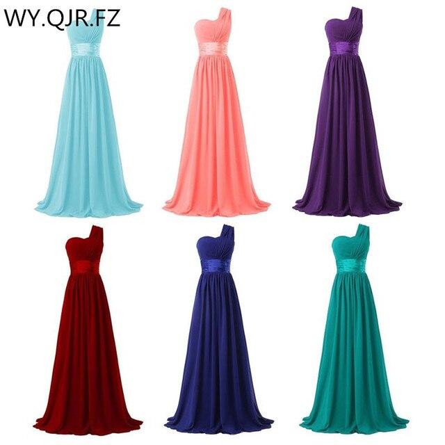 QNZL02 # หนึ่งไหล่กลับซิปยาวสีฟ้าสีแดงสีเขียวชีฟองชุดเจ้าสาวงานแต่งงานชุดสาวสุภาพสตรีฟรีปรับแต่ง