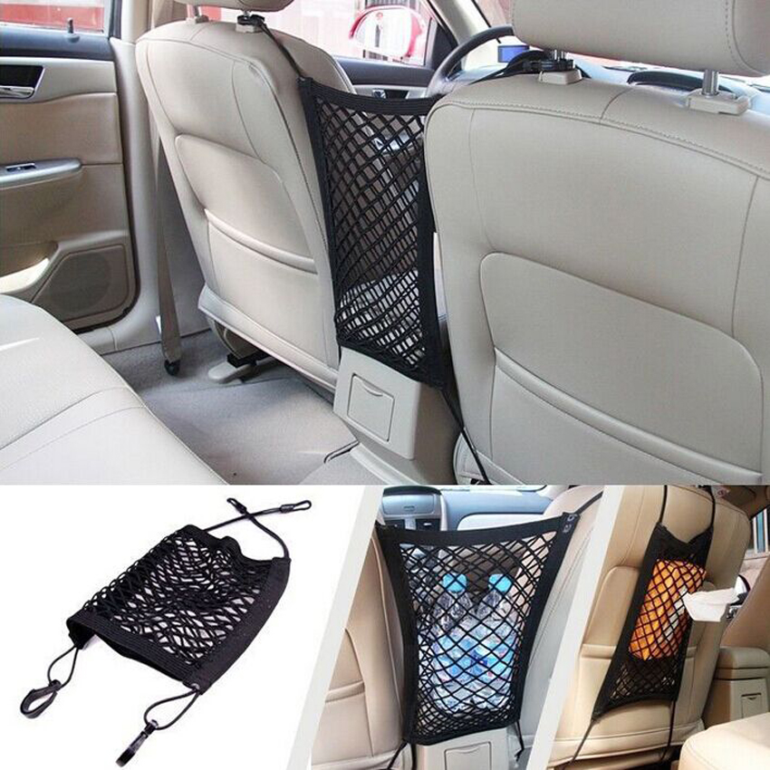 1pc Universal Car Net Seat Storage Mesh Organizer Bag Luggage Holder Key Card Wallet Water Sunglass Pocket for iphone Cell Phone