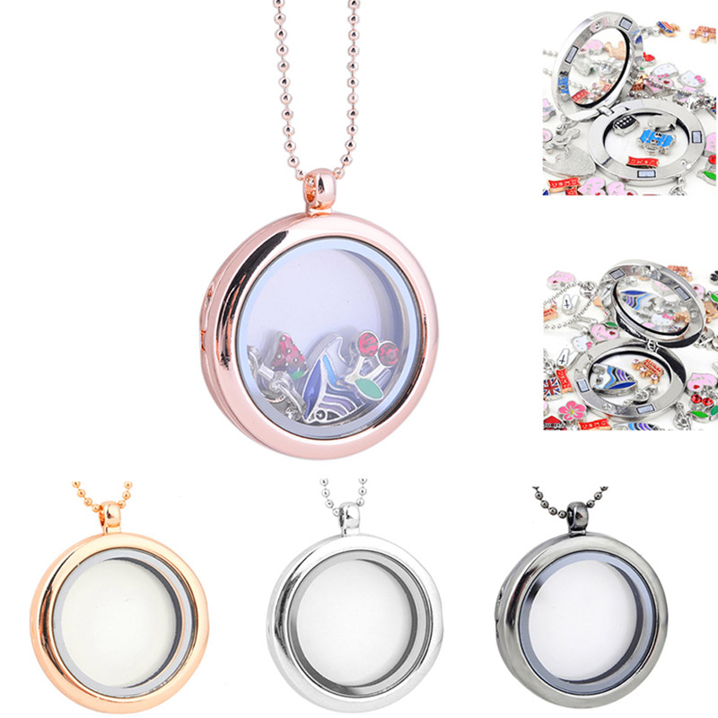 Living Memory Photo Floating Glass Locket Pendant Necklace Women Jewelry @M23