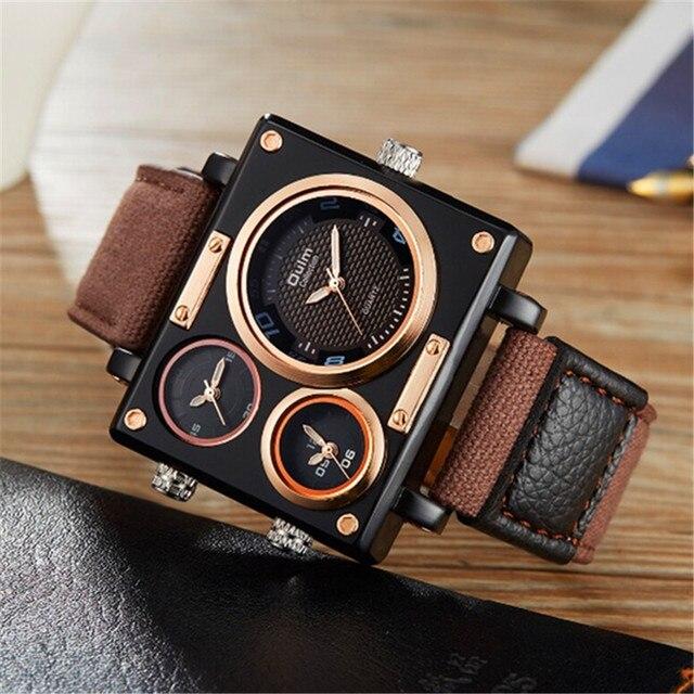 8d5cbfc14d1 Rectangle Big Watches Men Brand Oulm 3595 Fashion 3 Time Zone Canvas Band  Casual Quartz Watch Relogio Masculino Marca Original